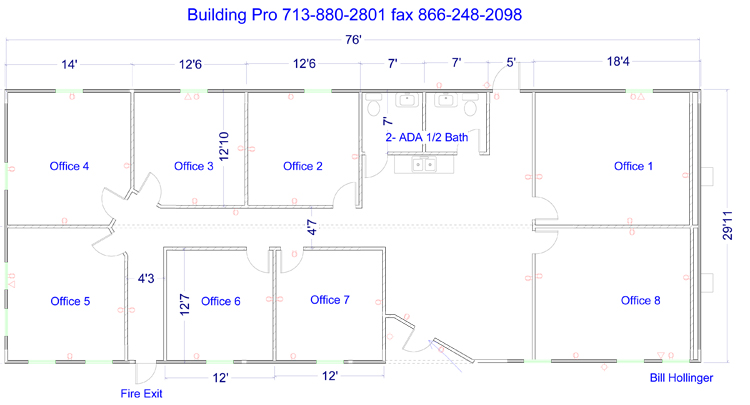 office floor layout. Floor Plan, 24 X 56 Foot Modular Office Building Layout